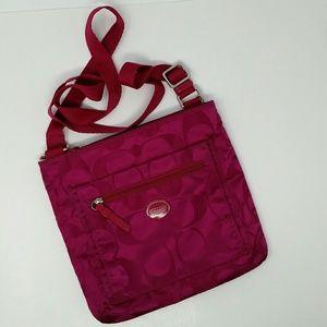 Coach Signature Pink Crossbody Messenger Handbag